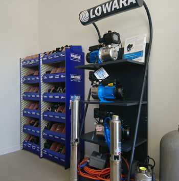 Shop floor with Lowara and Hansen products display.
